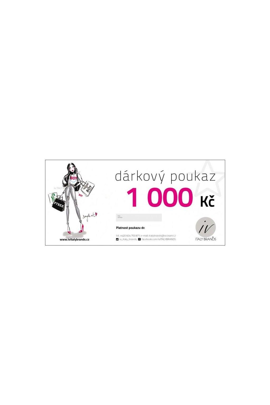 DÁRKOVÝ POUKAZ V HODNOTĚ 1000 Kč (Velikost Cena 1000)