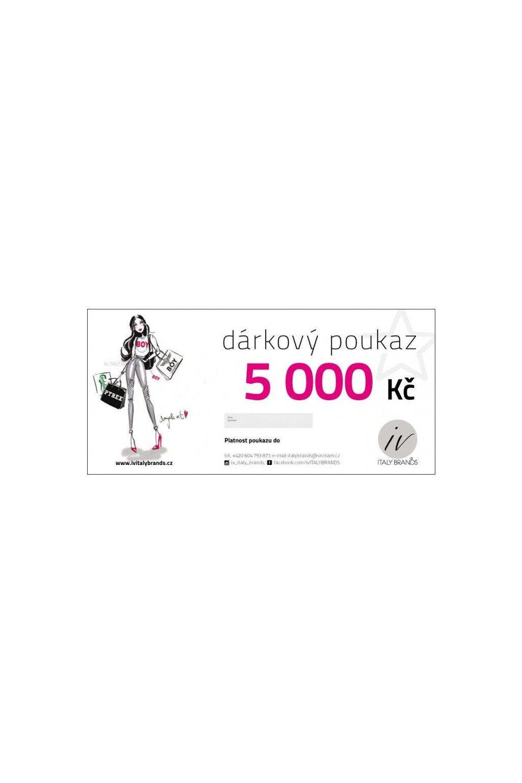 DÁRKOVÝ POUKAZ V HODNOTĚ 5000 Kč - Cena 5000, (Velikost Kč)
