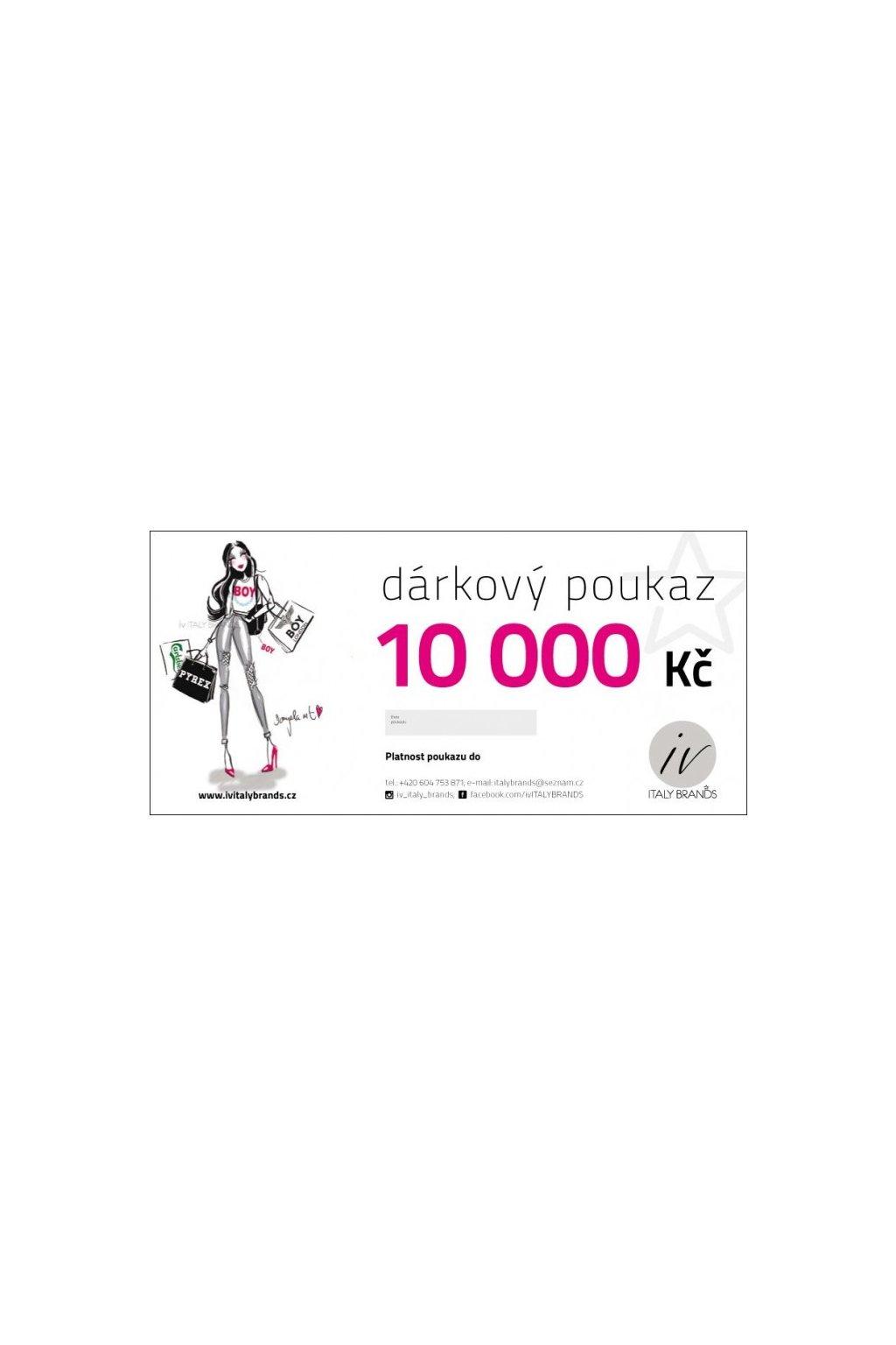DÁRKOVÝ POUKAZ V HODNOTĚ 10 000 Kč - Cena 10000, (Velikost Kč)