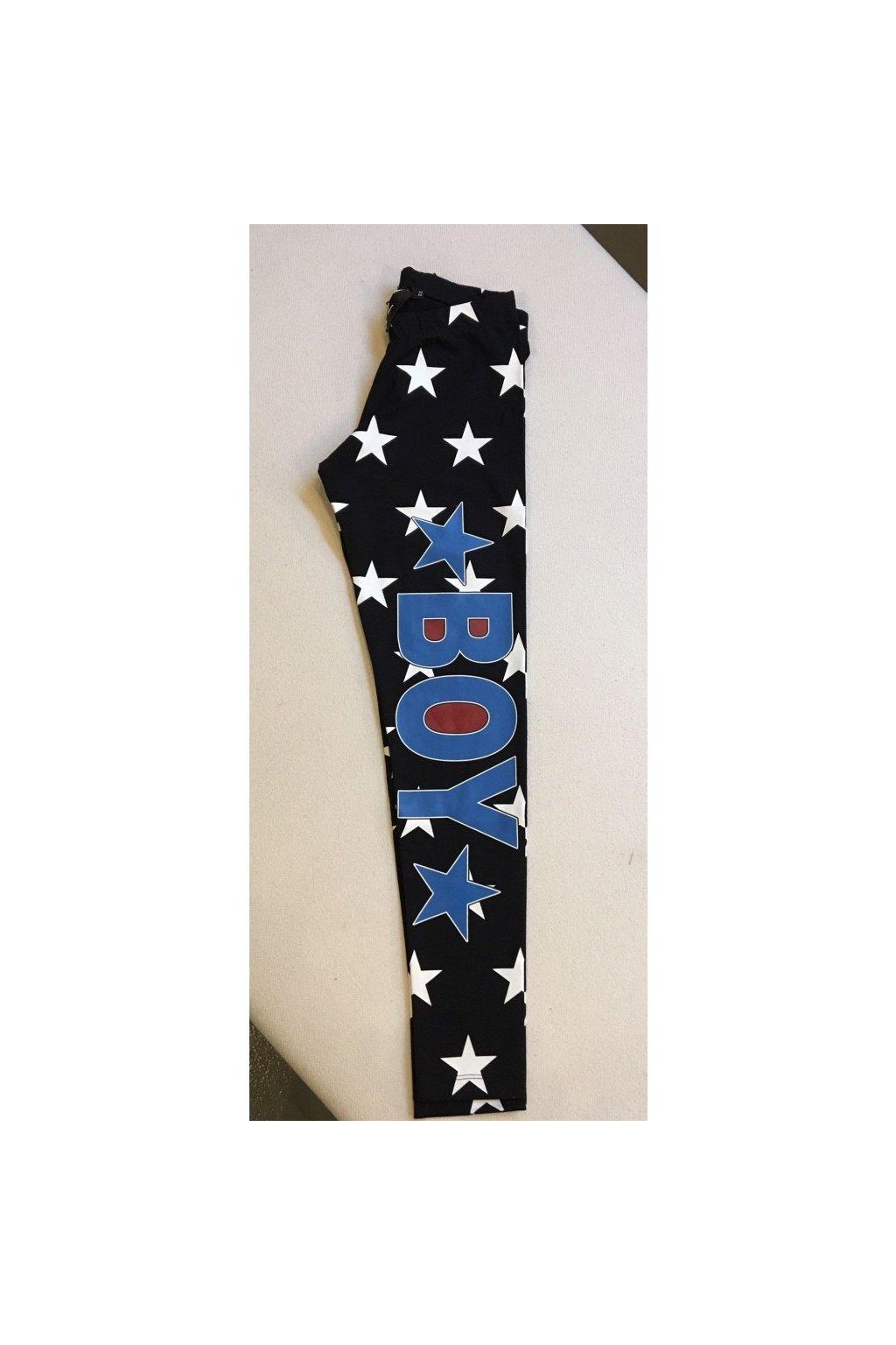 Legíny s hvězdami a nápisem Boy London - černé (Velikost Velikost XS)