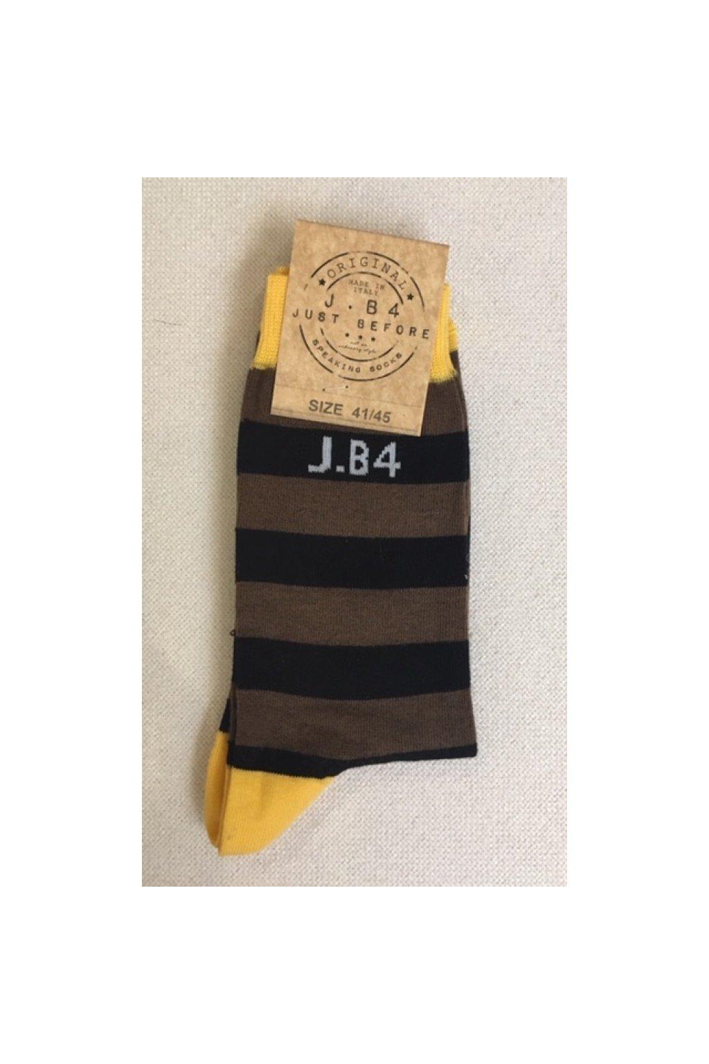 Ponožky s proužkem J.B4 - hnědé (Velikost Velikost 41/45)