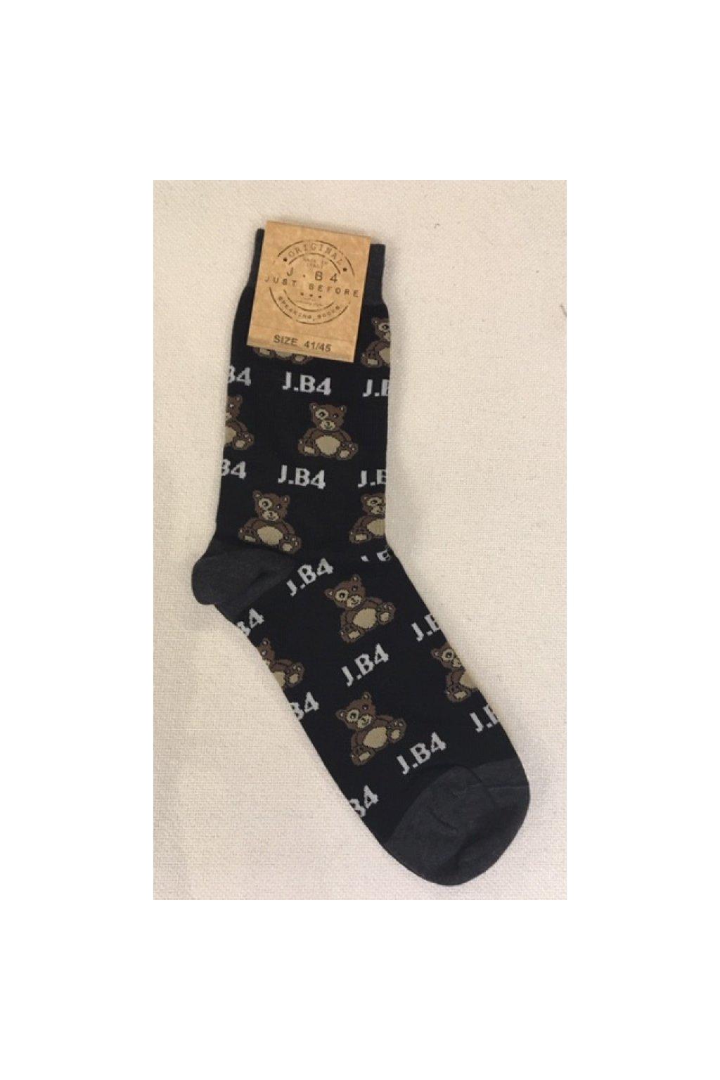 Ponožky s medvídkama J.B4 - černé (Velikost Velikost 41/45)