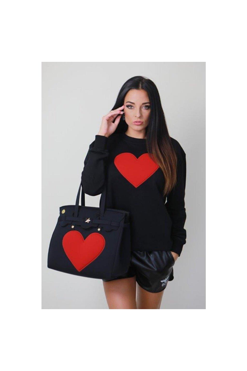 Mikina s červeným srdcem La Fille des Fleurs - černé (Velikost Velikost M)
