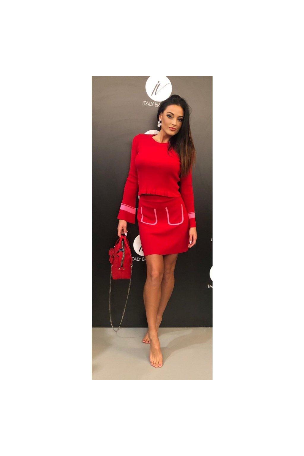 Sukně s kapsami Kontatto - červená (Velikost Velikost UNI)