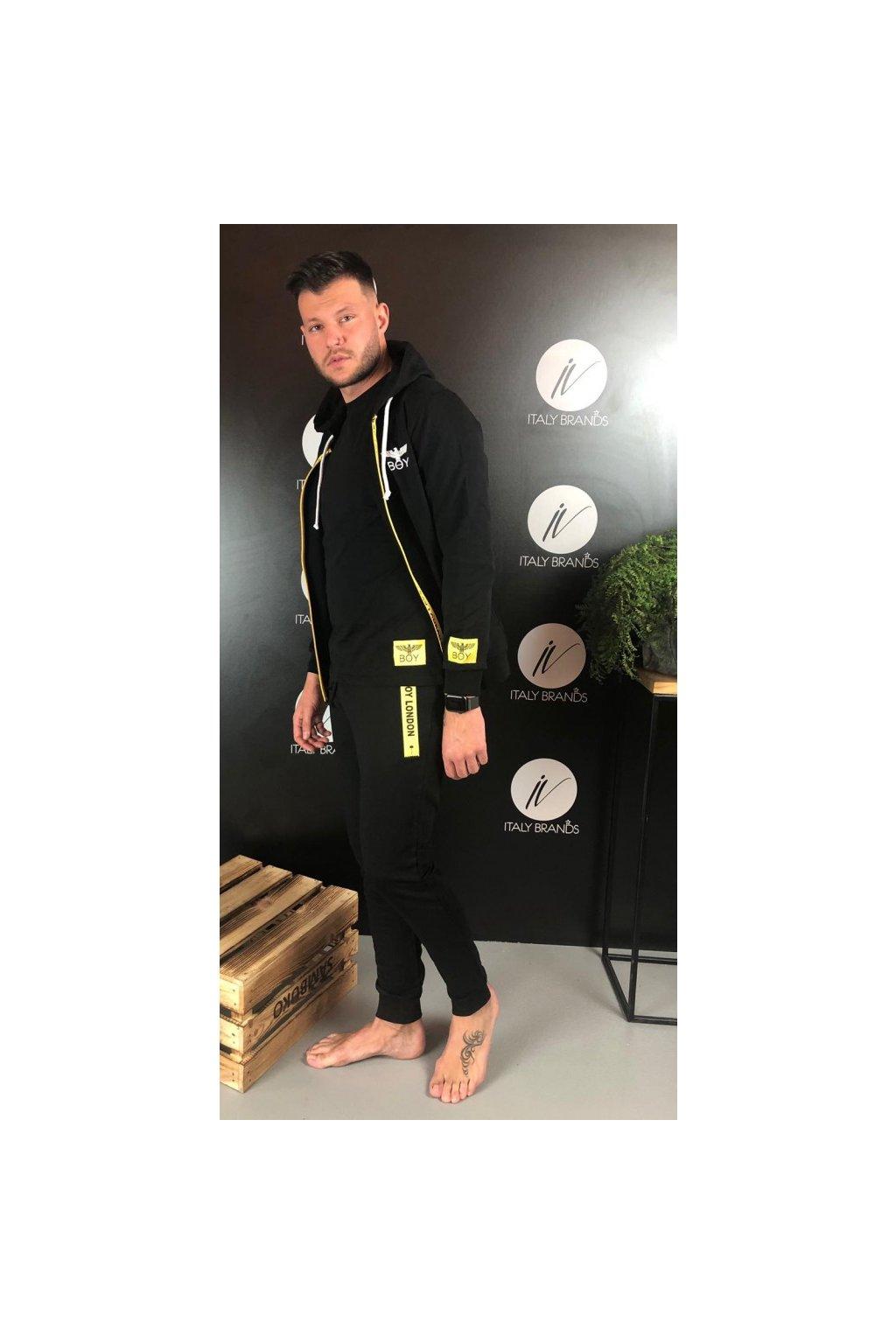 Mikina s kapucí a žlutým zipem Boy London - černá (Velikost Velikost S)