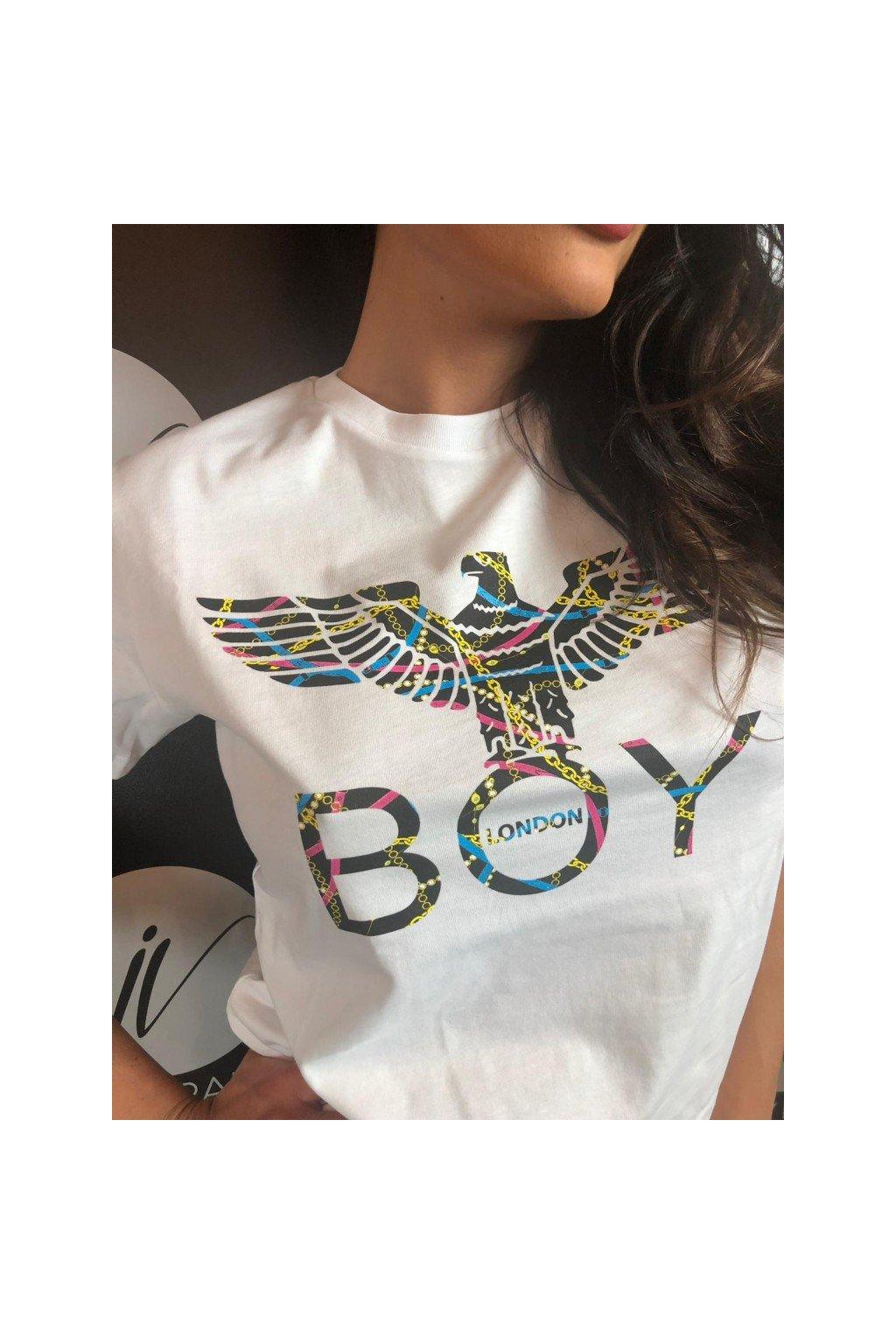 Tričko s barevným znakem Boy London - bílé (Velikost Velikost XS)