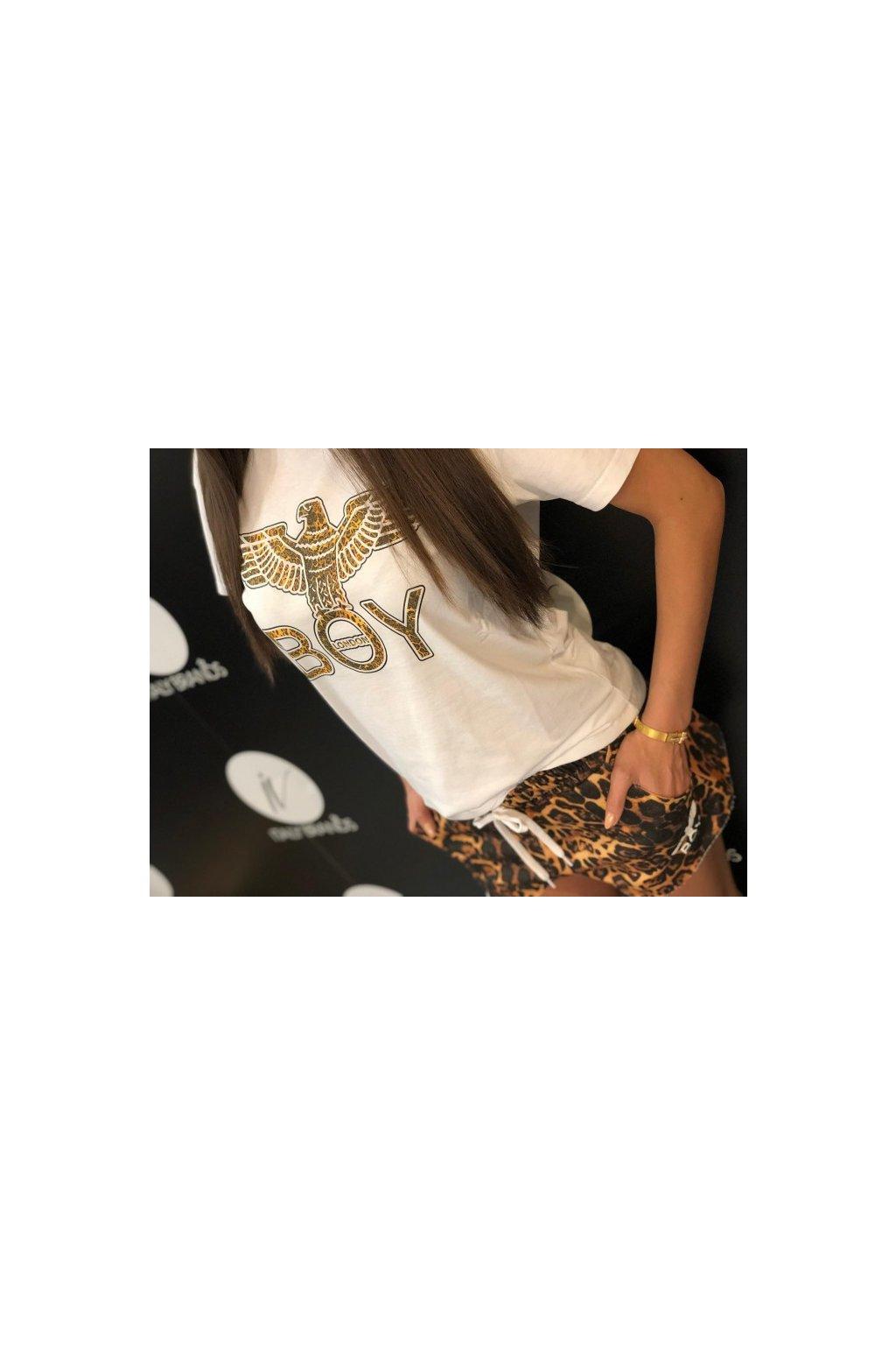 Tričko s leopardím znakem Boy London - bílé (Velikost Velikost XS)