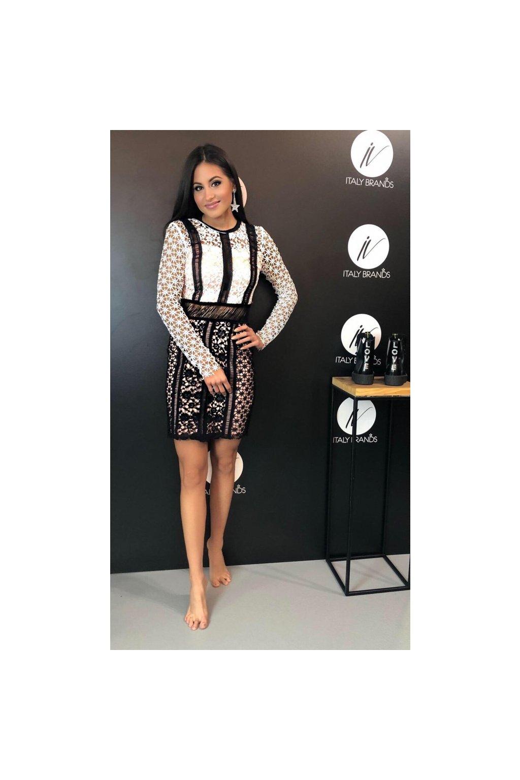Šaty krajkové Silvian Heach - černobílé (Velikost Velikost XXS)