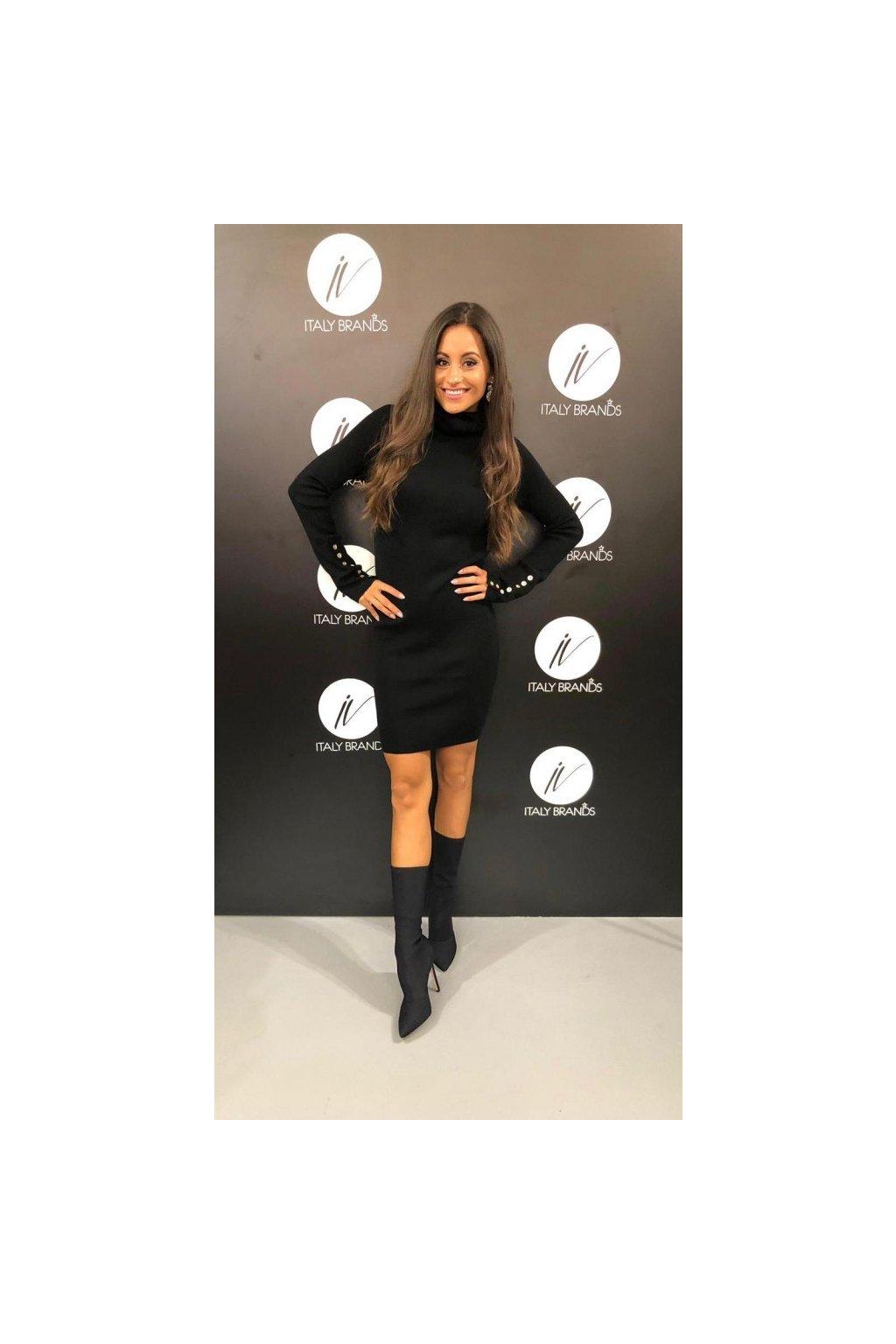 Úpletové šaty s roláčkem, Silvian Heach - černé (Velikost Velikost L)
