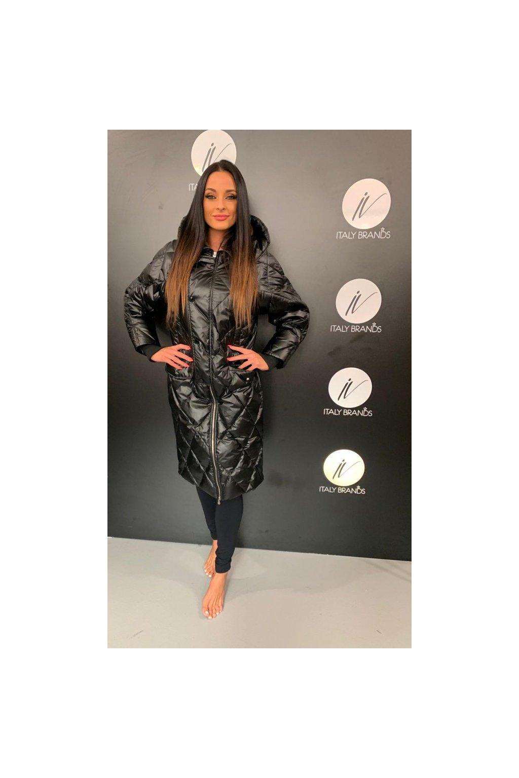 Péřový kabát, Silvian Heach - černý (Velikost Velikost S)
