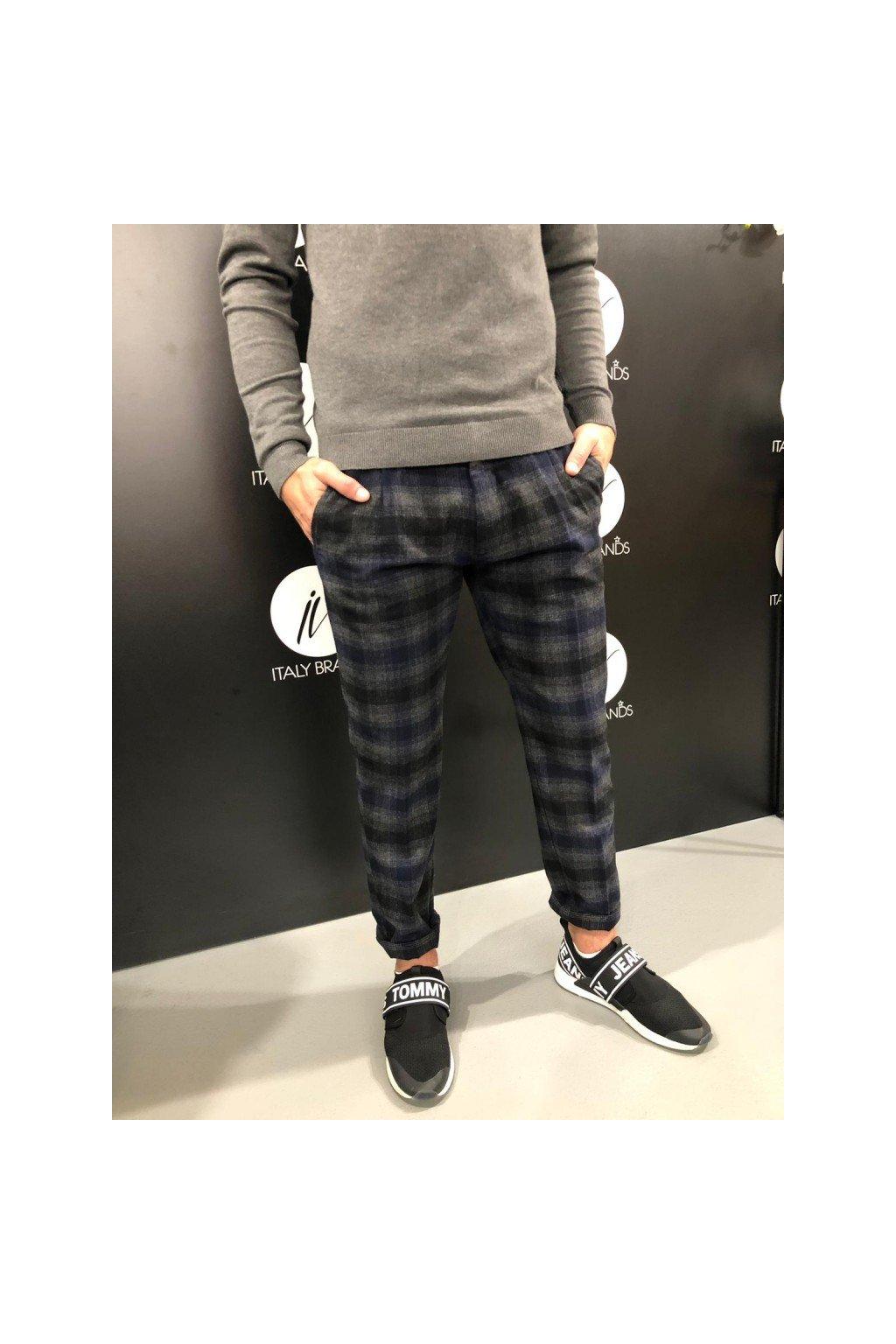 Kalhoty káro, MARKUP - modrošedé (Velikost Velikost 50)