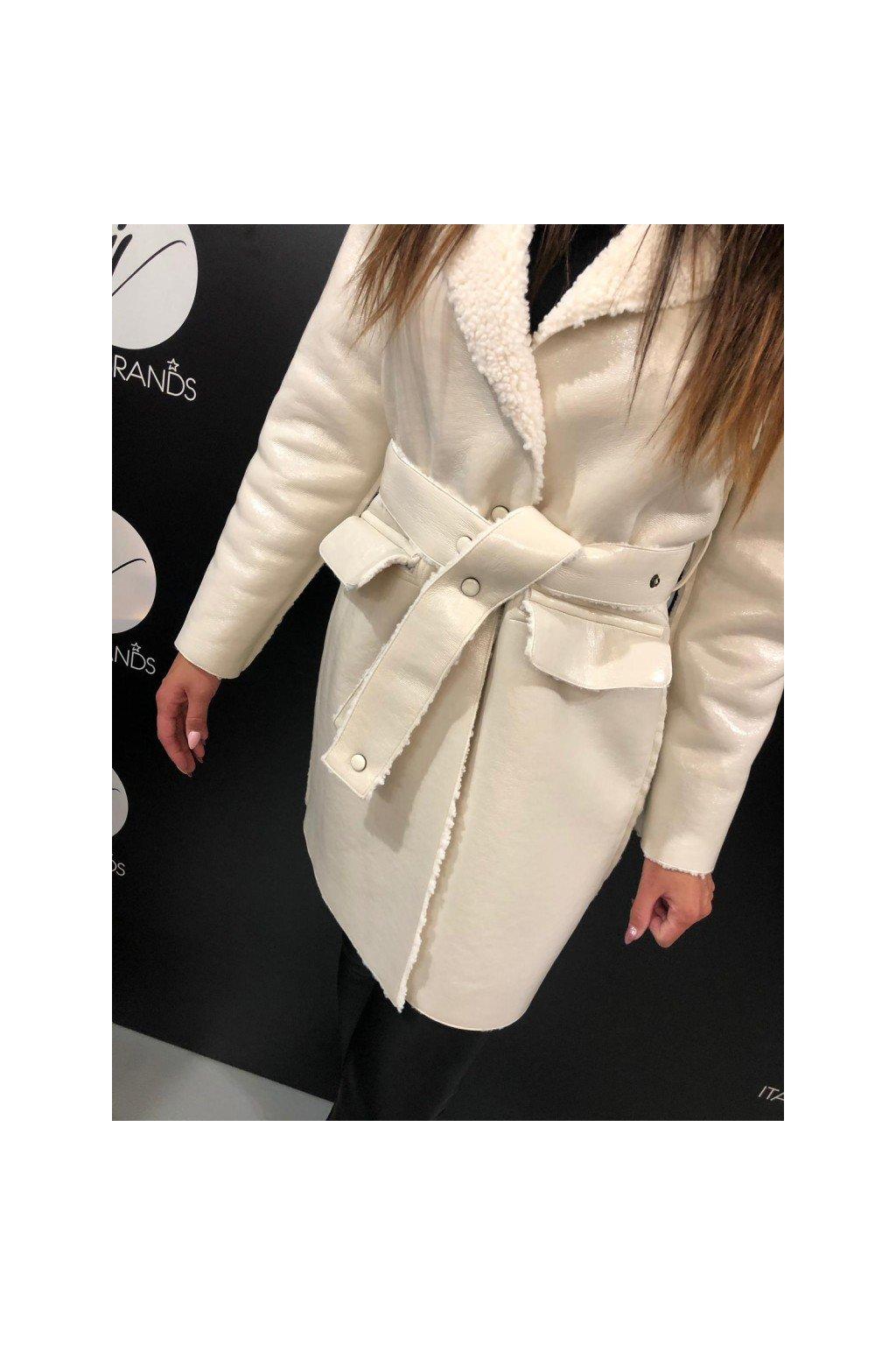 Kabát s páskem OFFWEAR - smetanový (Velikost Velikost 44)