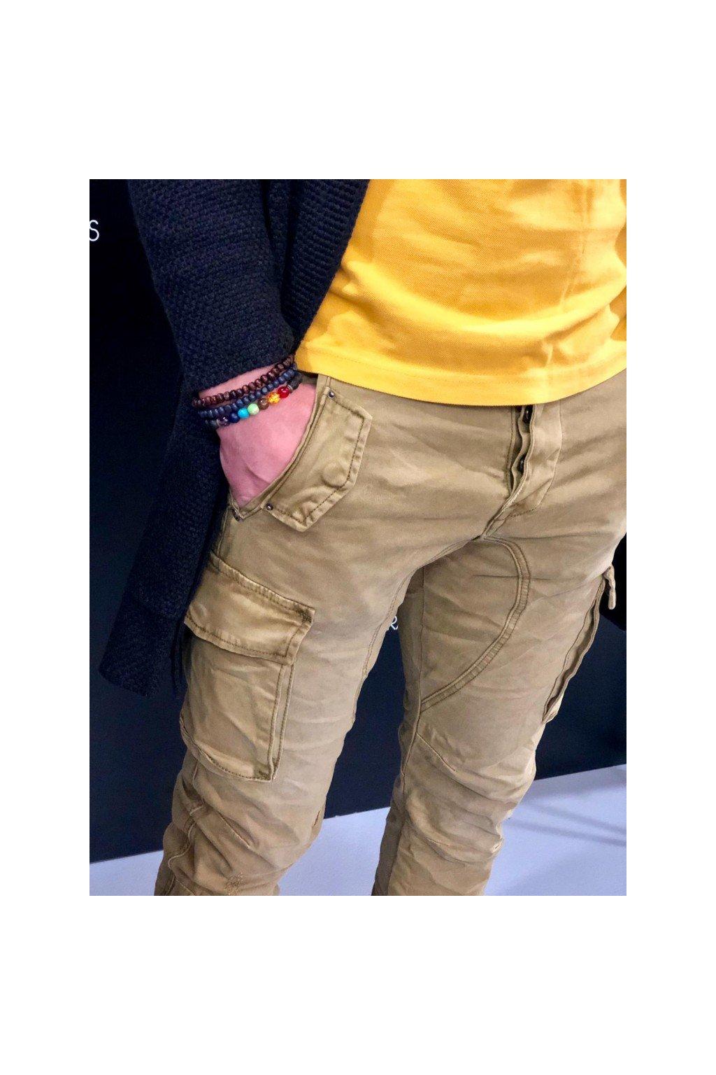 Kalhoty s kapsami GIANNI LUPO - barva KHAKI (Velikost Velikost 52)