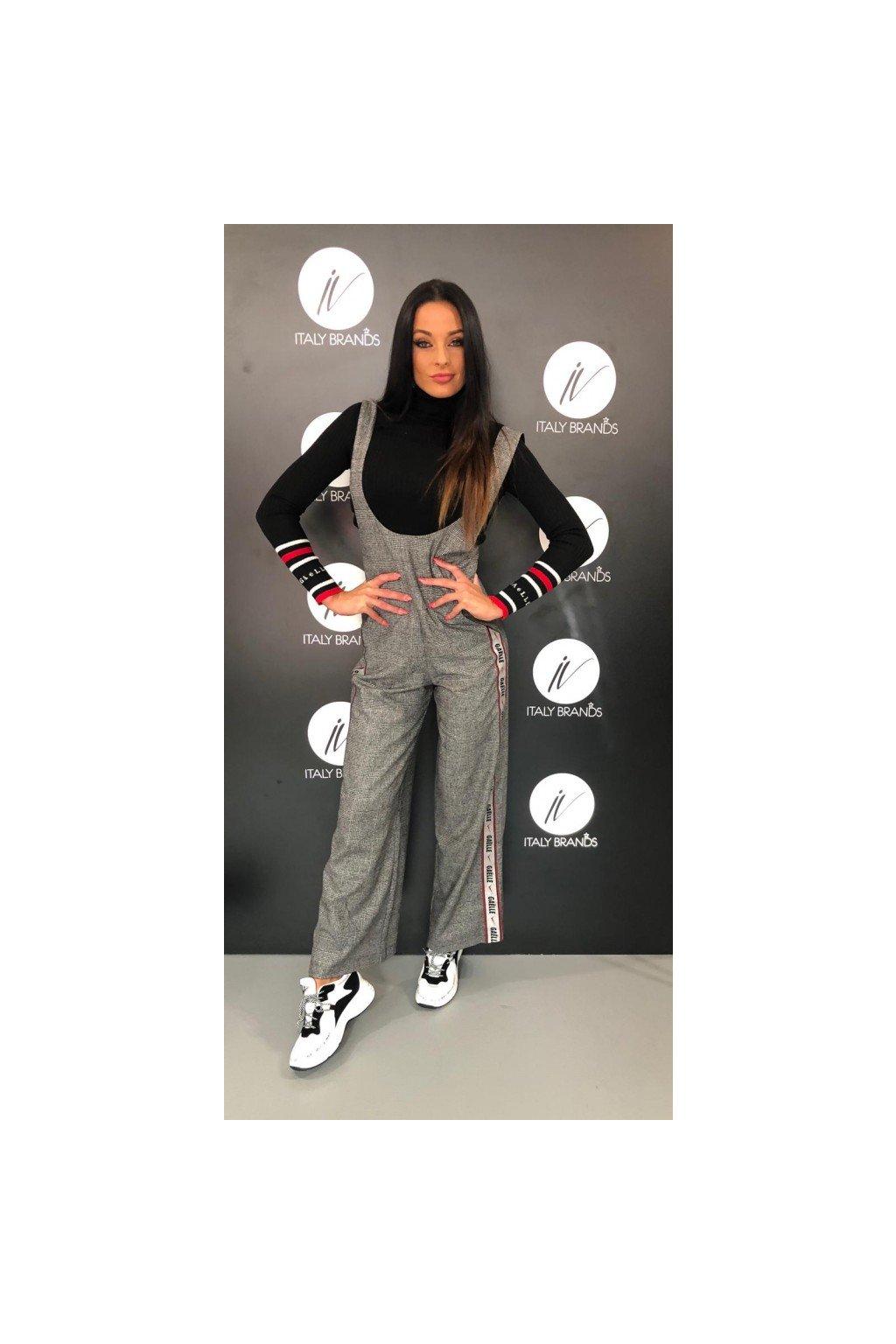 Kalhoty s náprsenkou Gaëlle - šedé (Velikost Velikost 40)