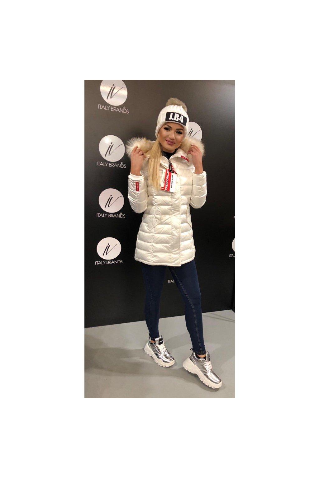 Péřová bunda s kožešinou na kapuci FREEDOMDAY - bílá (Velikost Velikost S)