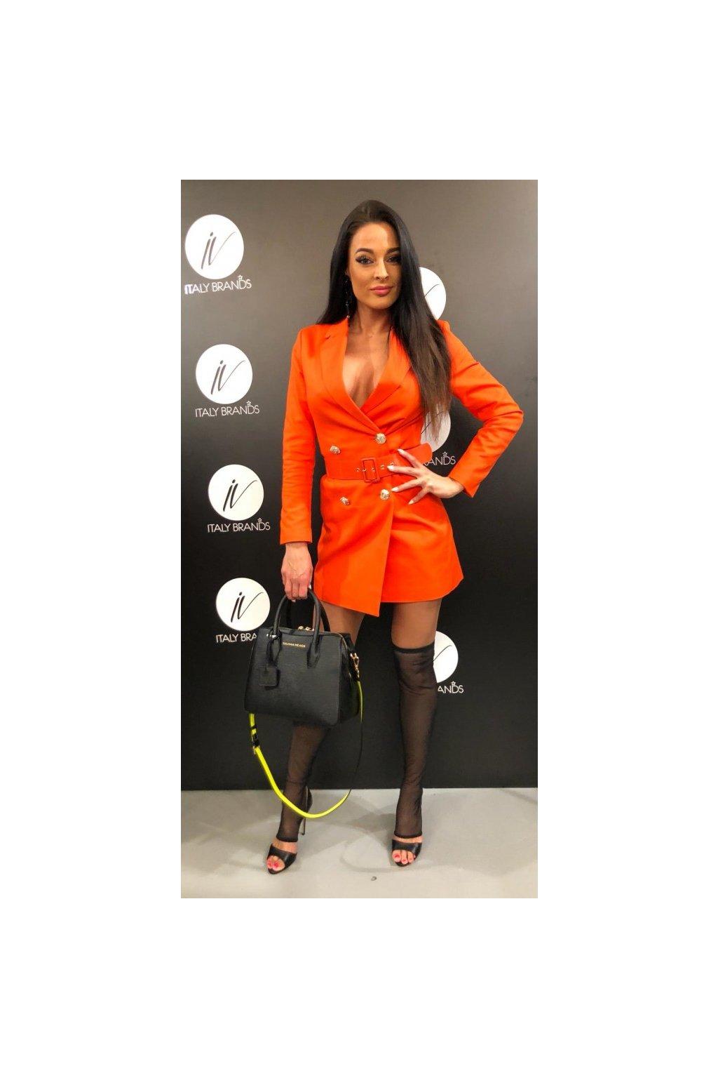 Sáčkové šaty s páskem,  SIlvian Heach - oranžové (Velikost Velikost S)