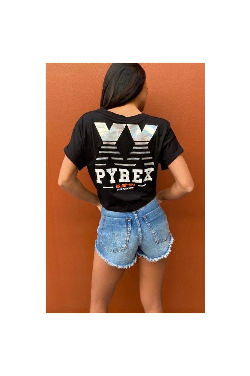 Krátké tričko s nápisem na zádech, PYREX - černé (Velikost Velikost M)