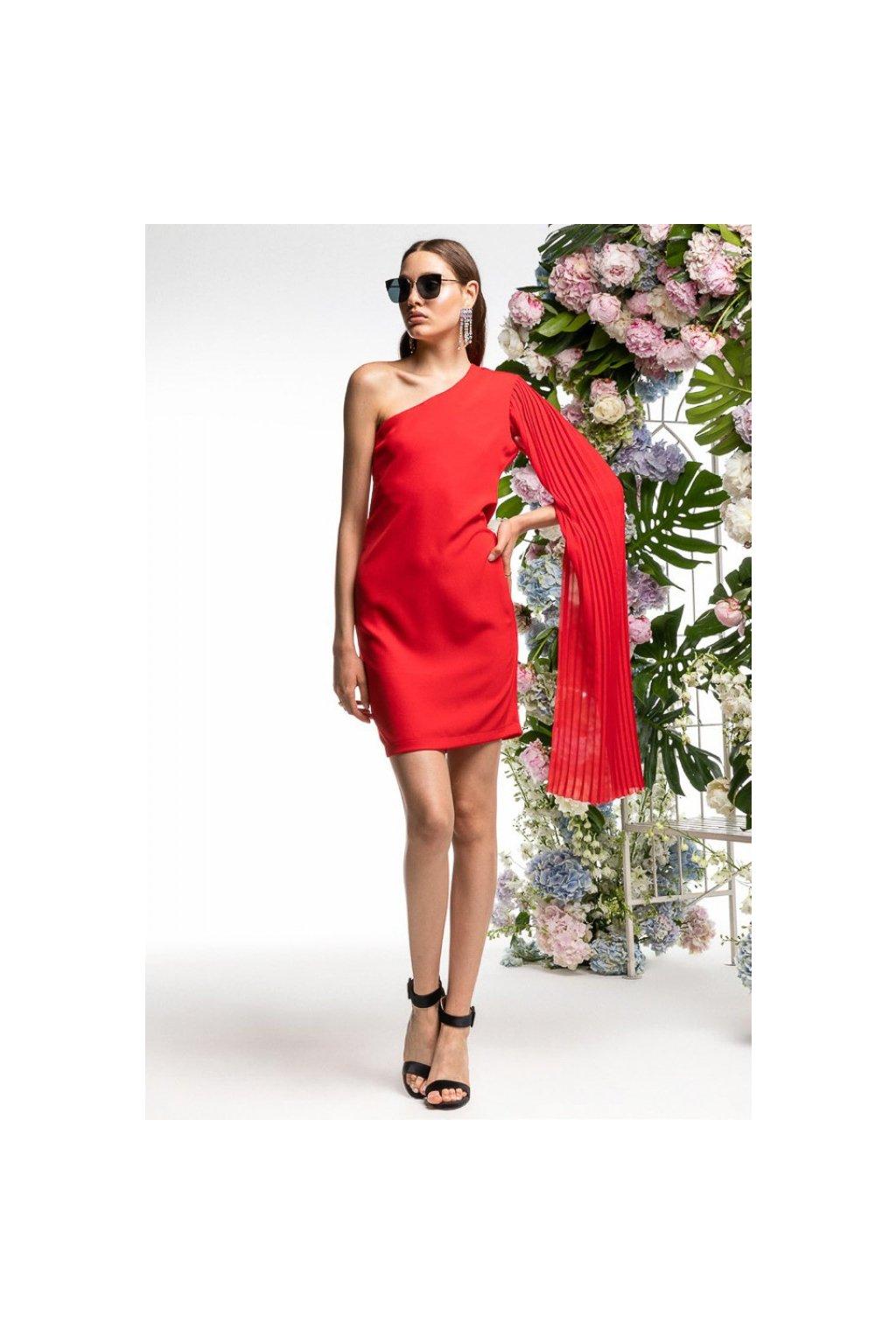 Šaty červené na jedno rameno, REVISE - červené (Velikost Velikost M)