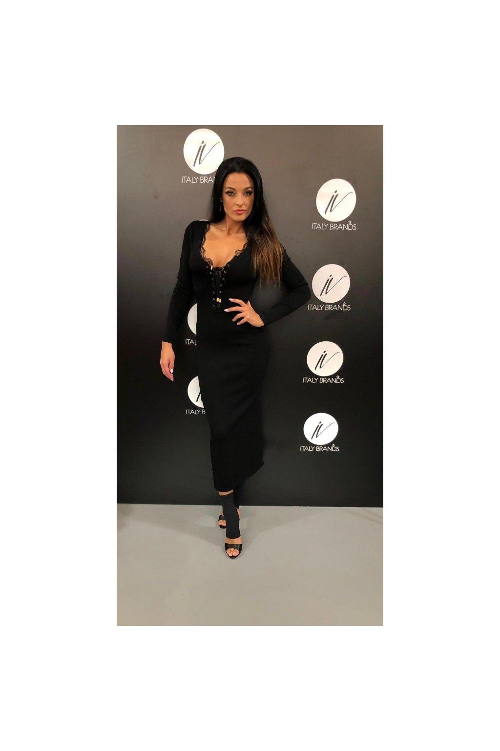 Šaty se šněrováním, Silvian Heach - černé (Velikost Velikost M)