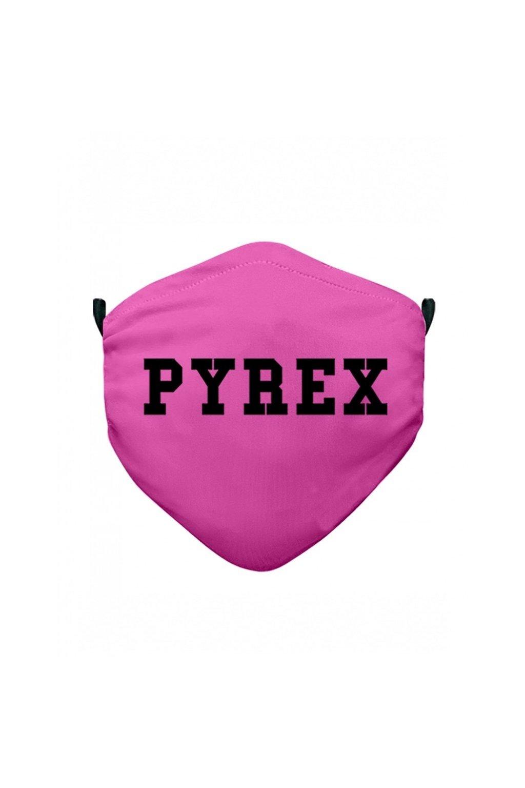 Rouška PYREX růžová s černým nápisem - UNI (Velikost Velikost UNI)