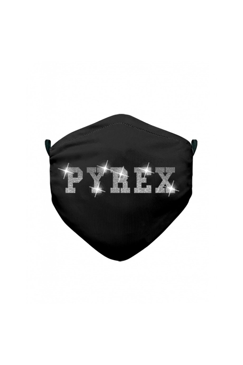 Rouška PYREX, stříbrný nápis, černá - UNI (Velikost Velikost UNI)