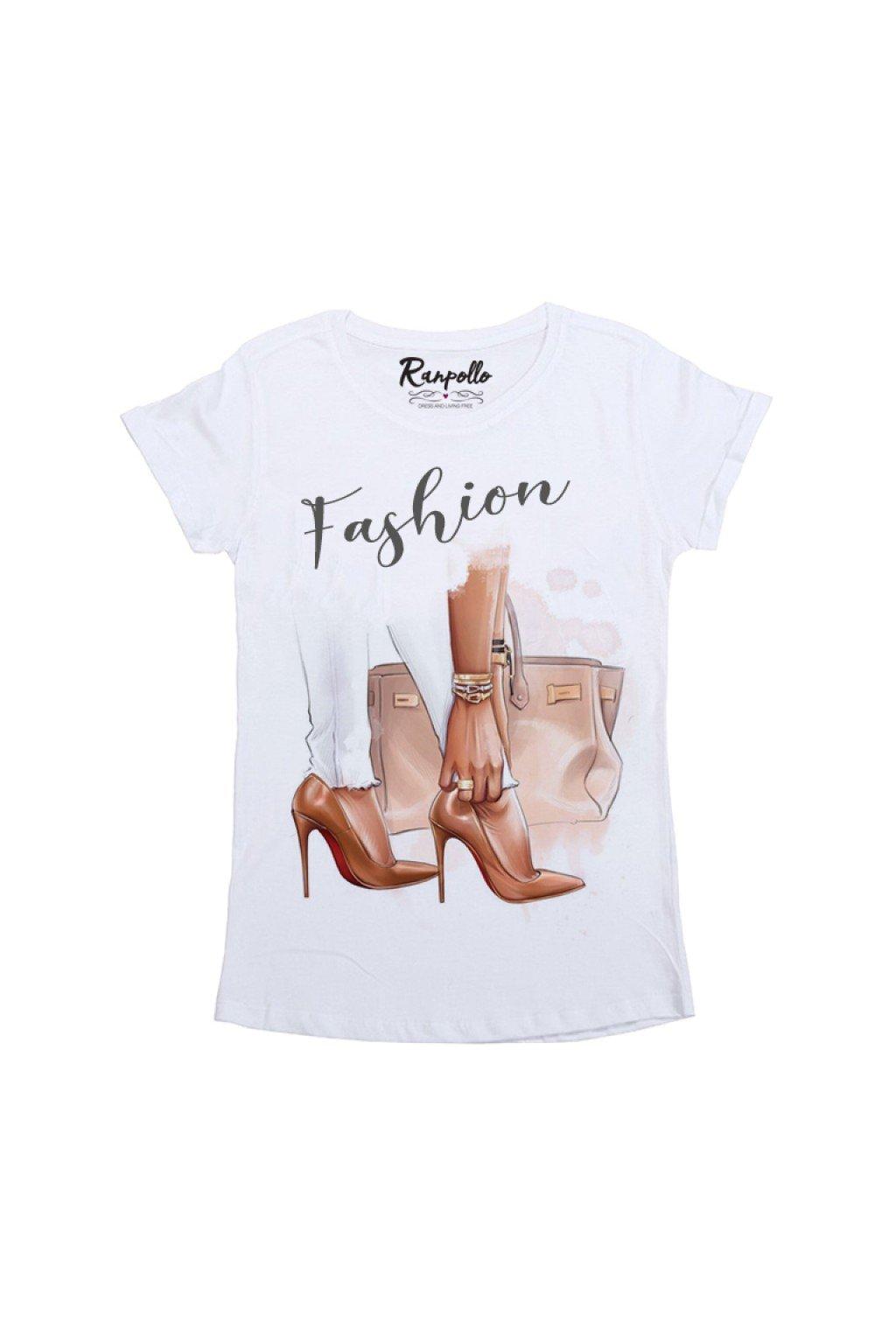 Tričko fashion, Ranpollo - bílé (Velikost Velikost L)