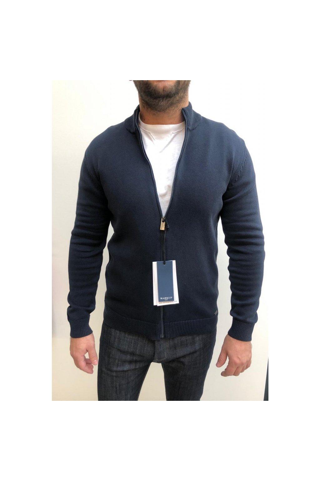 MARKUP svetr na zip - modrý (Velikost Velikost XXXL)