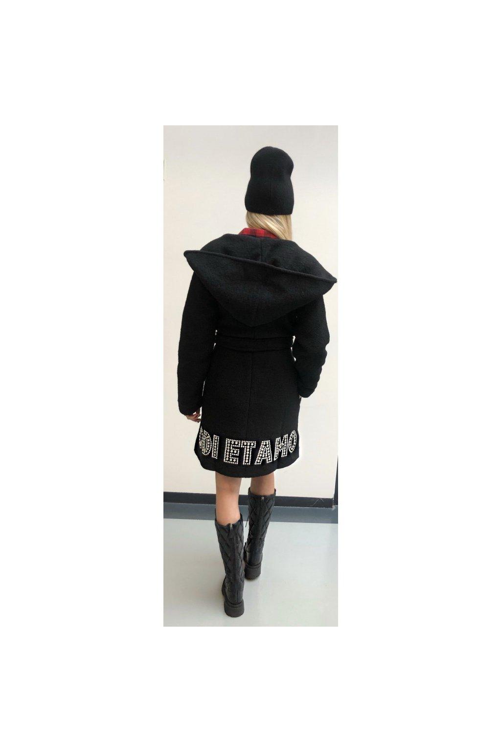 ODI ET AMO kabátek s nápisem - černý (Velikost Velikost L)