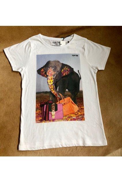 Tričko Top-Tee s fotkou slona - bílé (Velikost Velikost M)