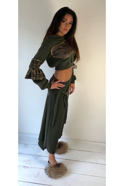 Kalhotová sukně Kostumn1 - khaki (Velikost Velikost L)