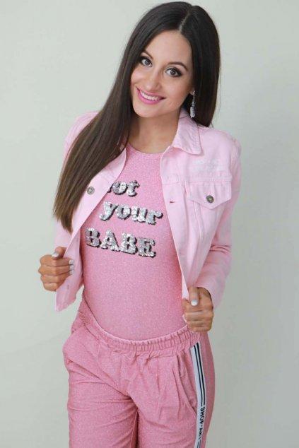 Džínová bunda Shop Art - růžová (Velikost Velikost S)