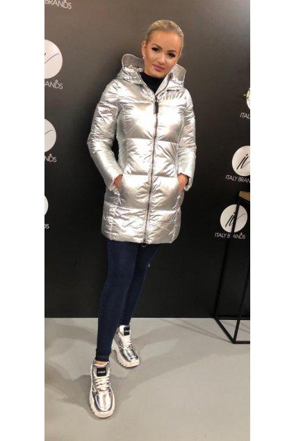 Kabát s kapucí Effek - stříbrný (Velikost Velikost L)