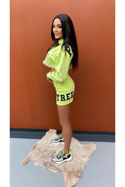 Riflová sukně s nápisem, PYREX - neon zelená (Velikost Velikost M)
