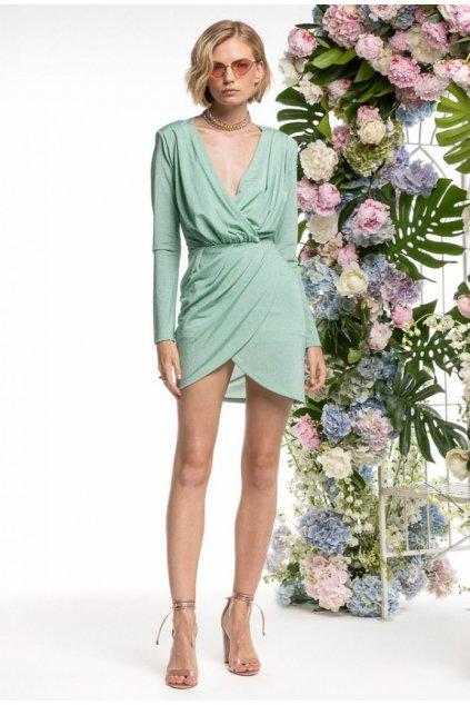 Šaty s jemným třpytem, REVISE - aqua zelené (Velikost Velikost M)