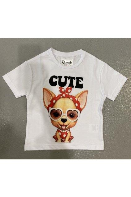 Tričko baby CUTE, RANPOLLO - bílé (Velikost Velikost 12)