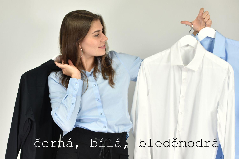 pánské klasické košile bílé, černé, bleděmodré