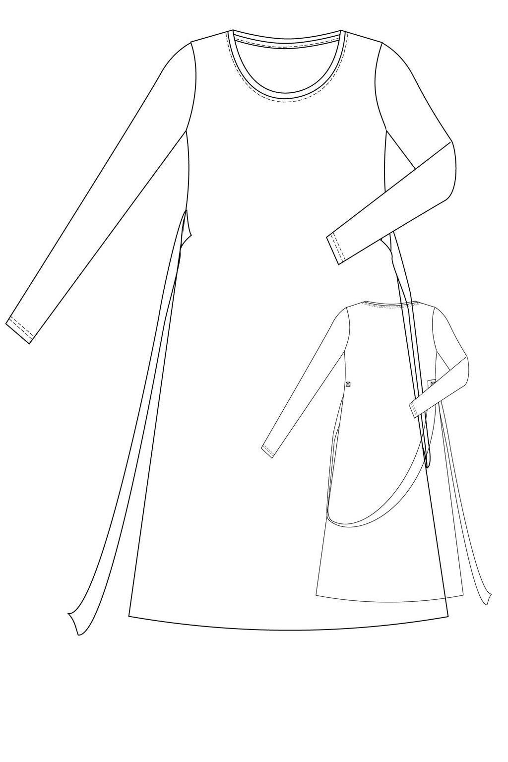 navrhni si saty tunikove velky vystrih dlouhy rukav dlouhe nakres