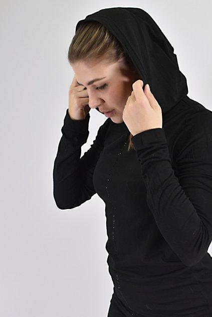 triko dlouhé s kamínky a kapucí (1)