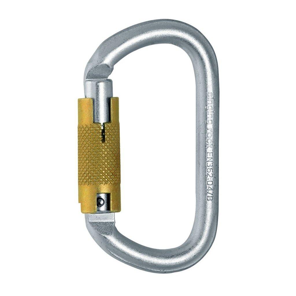 Oval carabiner steel / triple lock