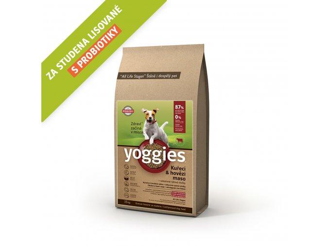 Yoggies 15 kg MINI Kuřecí a hovězí granule lisované za studena s probiotiky