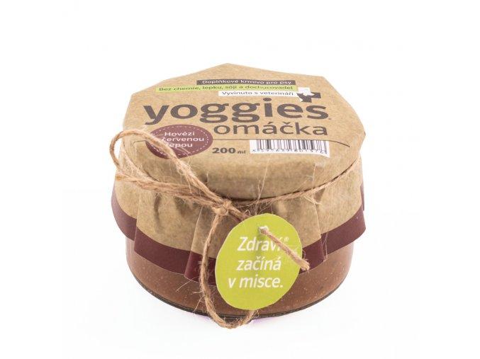 Yoggies Omacka pro psy s hovezim masem a cervenou repou 200ml