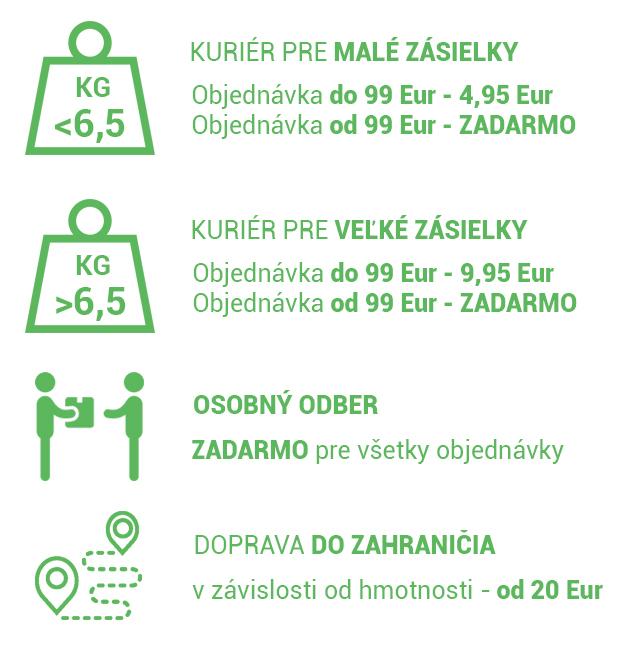 Cena dopravy od 99 € ZADARMO !