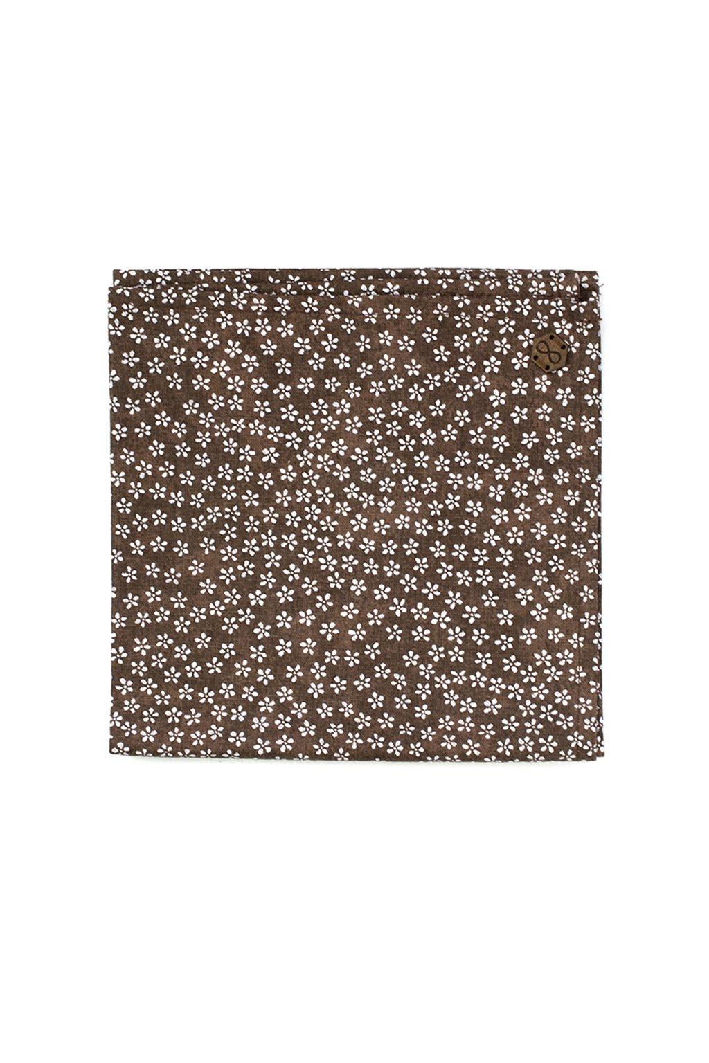 Pánský hnědý květovaný kapesníček Blossom | JAA∞TY