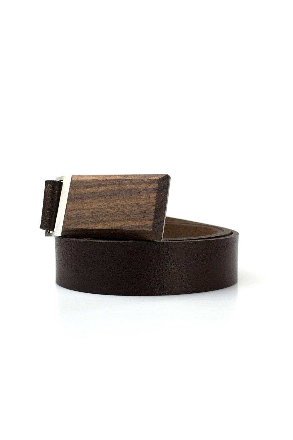 Luxusní pánský kožený opasek s dřevěnou sponou Ořešák černý| JAA∞TY