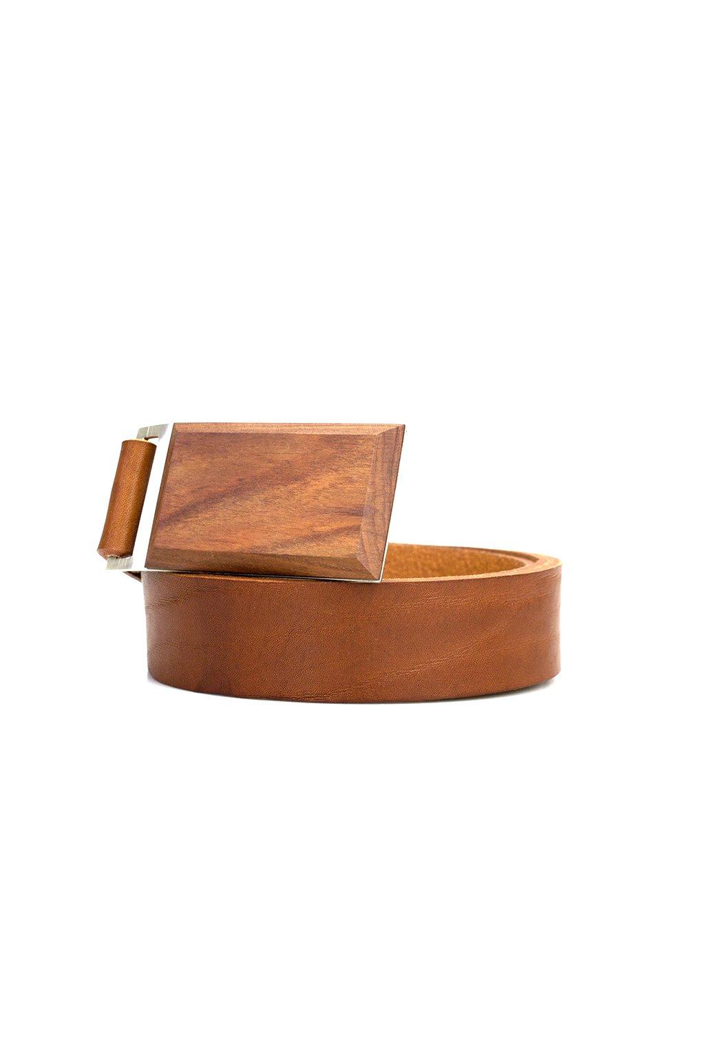 Luxusní pánský kožený opasek s dřevěnou sponou Slivoň švestka| JAA∞TY