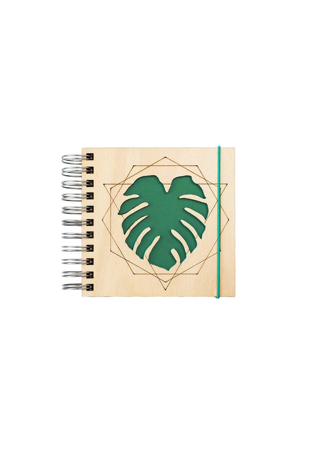 Dřevěný zápisník WOODBOOK Monstera 100 listů recyklovaného papíru | JAA∞TY