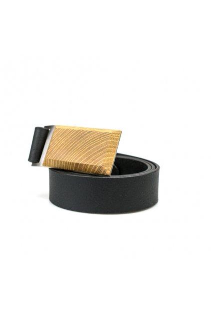 Luxusní pánský kožený opasek s dřevěnou sponou Trnovník akát | JAA∞TY