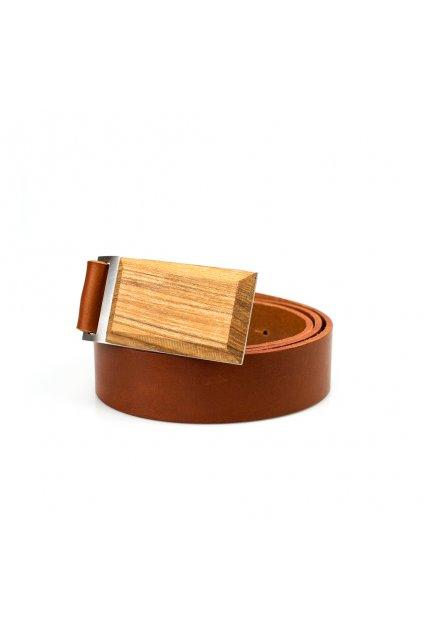Luxusní pánský kožený opasek s dřevěnou sponou Jasan ztepilý | JAA∞TY
