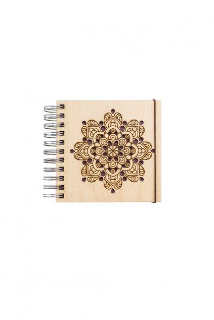 Dřevěný zápisník Mandala  s recyklovaným papírem | JAA∞TY