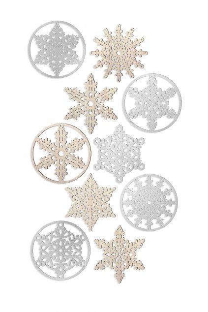 JAATY Vánoční dřevěné dekorace sněhové vločky více variant